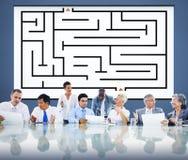 Concept de direction de Maze Strategy Success Solution Determination illustration stock