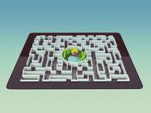 Concept de direction de Maze Strategy Success Solution Determination Photographie stock