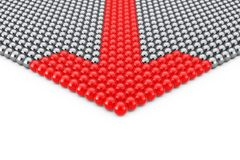 Concept de direction Rangées des sphères de Chrome avec la sphère rouge de flèche Photo libre de droits