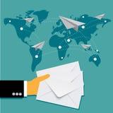 Concept de distribution du courrier d'affaires dans la conception plate, vecteur Photo stock