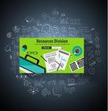 Concept de Division de ressources d'affaires avec le style de conception de griffonnage Images stock
