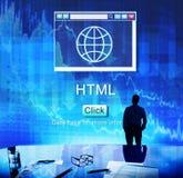Concept de données de navigateur de page d'accueil de HTML d'Internet grand Images libres de droits