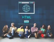 Concept de données de navigateur de page d'accueil de HTML d'Internet grand Photo stock