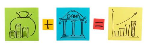 Concept de dépôts en banque. Feuilles de papier coloré. Photographie stock libre de droits