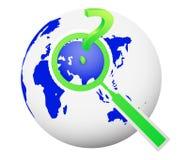 concept de déplacement de recherche globale avec le point d'interrogation Images stock