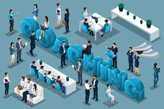 Concept de entraînement qualitatif d'Isometry, 3D caractères, hommes d'affaires employant la police Grande composition pour la pu illustration stock