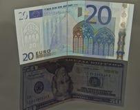 Concept: de Euro van het muntpaar - dollar Royalty-vrije Stock Afbeeldingen