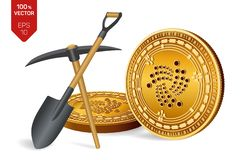 Concept de extraction d'iota pièce de monnaie physique isométrique du peu 3D avec la pioche et la pelle Devise de Digital Cryptoc illustration de vecteur