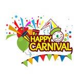 Concept de fête de carnaval de WebHappy avec le clown, la trompette, et le ballon Conceptions pour des affiches, milieux, cartes, illustration libre de droits