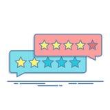 Concept de feedback de la clientèle Évaluation sous forme d'étoiles Estimation négative ou positive Zone de dialogue pour l'inter illustration stock