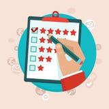 Concept de feedback de la clientèle de vecteur dans le style plat Images stock