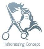 Concept de femme d'homme de Hair Salon Scissors de coiffeur illustration stock