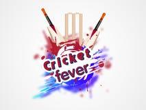 Concept de fièvre de cricket avec des tronçons de batte et de guichet Photo libre de droits