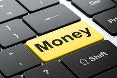Concept de finances : Argent sur le fond de clavier d'ordinateur Photographie stock
