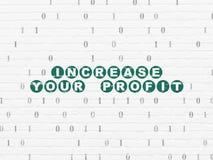 Concept de finances : Augmentez votre bénéfice sur le mur Images libres de droits