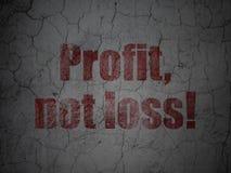 Concept de finances : Bénéfice, pas perte ! sur le fond grunge de mur Photo stock