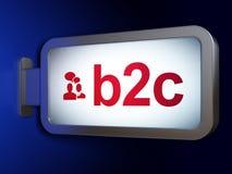 Concept de finances : B2c et réunion d'affaires sur le fond de panneau d'affichage Image libre de droits