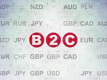 Concept de finances : B2c sur le fond de papier de données numériques Photos stock