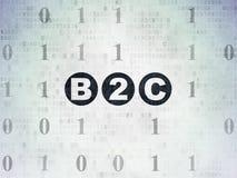 Concept de finances : B2c sur le fond de papier de données numériques Photos libres de droits