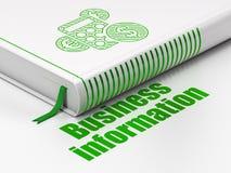 Concept de finances : calculatrice de livre, renseignements commerciaux sur le fond blanc Photos stock