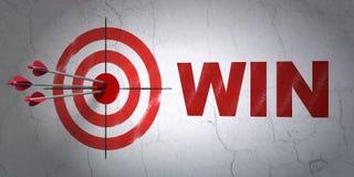 Concept de finances : cible et victoire sur le fond de mur Image stock