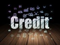 Concept de finances : Crédit dans la chambre noire grunge Photographie stock