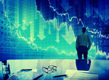 Concept de finances d'accident de Stock Market Crisis d'homme d'affaires Images libres de droits