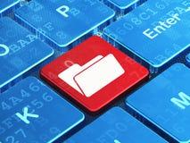 Concept de finances : Dossier sur le fond de clavier d'ordinateur Photographie stock