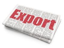 Concept de finances : Exportation sur le fond de journal Photo stock