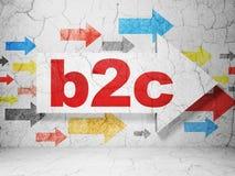 Concept de finances : flèche avec B2c sur le fond grunge de mur Photographie stock libre de droits