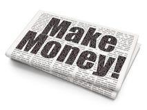 Concept de finances : Gagnez l'argent ! sur le fond de journal Photographie stock