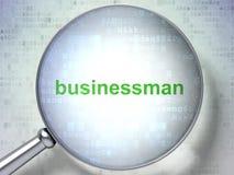 Concept de finances : Homme d'affaires avec le verre optique Image libre de droits