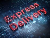 Concept de finances : La livraison express rouge sur le fond numérique Photos stock