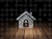 Concept de finances : Maison dans la chambre noire grunge Image stock