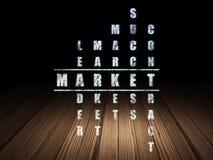 Concept de finances : marché de mot en résolvant des mots croisé Images libres de droits