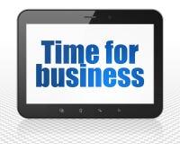 Concept de finances : Marquez sur tablette l'ordinateur de PC avec de l'heure pour des affaires sur l'affichage Photographie stock libre de droits