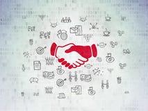 Concept de finances : Poignée de main sur le fond de papier de données numériques Photographie stock libre de droits