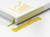 Concept de finances : réservez le graphique de croissance, Outstaffing sur le fond blanc Photos libres de droits