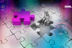 Concept de finances : Risque sur le morceau rouge de puzzle Photographie stock libre de droits