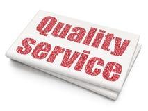 Concept de finances : Service de qualité sur le fond vide de journal Photos stock