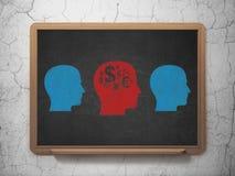 Concept de finances : tête avec l'icône de symbole de finances dessus Photo stock