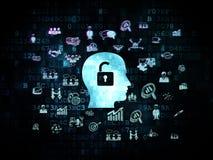Concept de finances : Tête avec le cadenas sur Digital Photographie stock libre de droits
