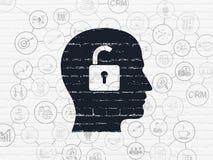 Concept de finances : Tête avec le cadenas sur le mur Images libres de droits