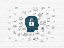 Concept de finances : Tête avec le cadenas sur le mur Photos stock