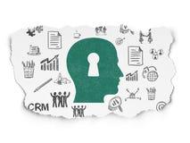 Concept de finances : Tête avec le trou de la serrure sur le papier déchiré Photo libre de droits