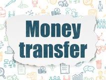 Concept de finances : Transfert d'argent sur le papier déchiré Image libre de droits