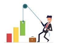 concept de financiële groei De zakenman of de manager trekken het kabel toenemende inkomen Glimlachende mens in een pak Vector Stock Afbeelding