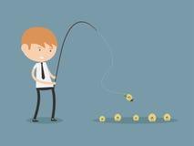 Concept de Fishing Money Idea d'homme d'affaires Photographie stock