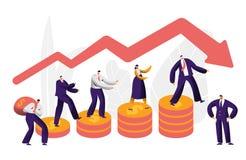 Concept de flèche de caractère d'affaires de risque financier Homme d'affaires Walk sur la pièce de monnaie investissant l'assura illustration stock