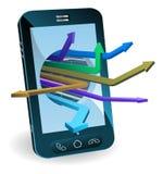 Concept de flèches de téléphone Photos stock